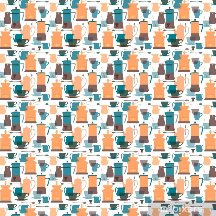 Vinyltapete nach Maß Kaffeemaschine, Kaffeekanne, Kaffeemühle, Cezve, Krug, Kaffeetasse, Löffel, Untertasse. Geschirr für Kaffee. flache Farben transparente Silhouetten. nahtloser Hintergrund. Vektor-Illustration. - Grafische Elemente