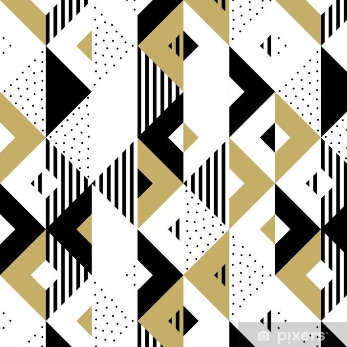 Papier Peint A Motifs Triangle Motif Abstrait Geometrique Dore Fond