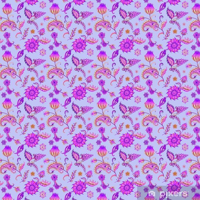 Vinyl behang, op maat gemaakt Naadloze paisley patroon. decoratief patroon van bladeren en bloemen, aquarel patroon in paarse tinten. - Grafische Bronnen
