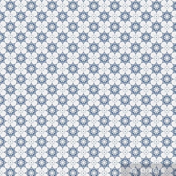 Vinyl behang, op maat gemaakt Delicaat bloemen naadloos patroon, blauw witte achtergrond - Grafische Bronnen