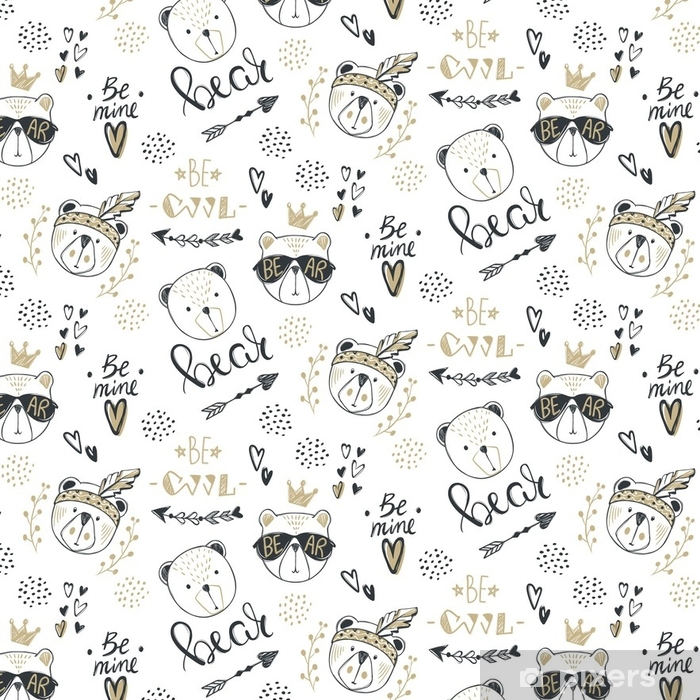 Vector Fashion Bear Seamless Pattern Cute Teddy Illustration In