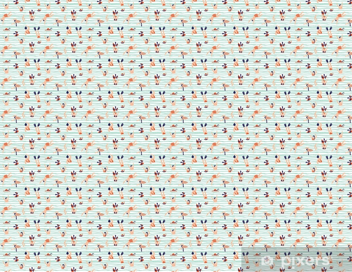 Papel pintado estándar a medida Patrón sin costuras de verano. gente nadando en el mar ilustración vectorial con nadadores. - Recursos gráficos