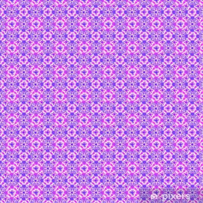 Vinyl behang, op maat gemaakt Abstract purper bloemenpatroon, violette betegelde textuurachtergrond, naadloze illustratie - Grafische Bronnen