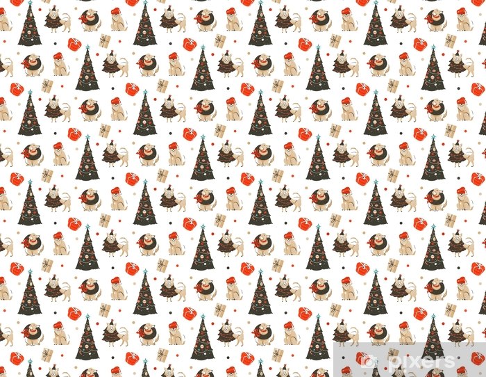 Hand Drawn Vector Abstract Fun Merry Christmas Time Cartoon Illustration Seamless Pattern With Many Pet Dogs In Holidays Costume And Xmas Trees