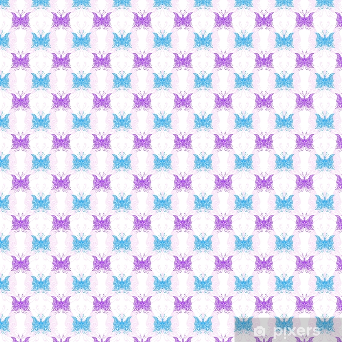 Seamless pattern with zentangle butterflies blue pink lilac on white Vinyl Custom-made Wallpaper -