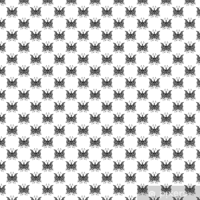 Seamless pattern with zentangle butterflies in black white Vinyl custom-made wallpaper - Graphic Resources