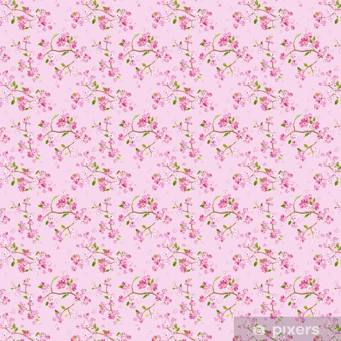 Vinyl behang, op maat gemaakt Bloeiende lente bloemen patroon achtergrond. naadloze modedruk in vector - Bloemen en Planten
