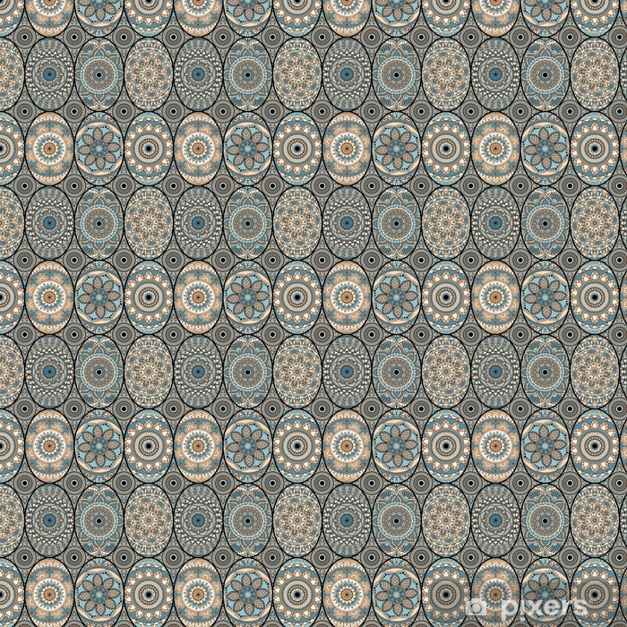 Seamless pattern tile with mandalas. Vintage decorative elements. Hand drawn background. Islam, Arabic, Indian, ottoman motifs. Perfect for printing on fabric or paper. Self-adhesive custom-made wallpaper - Graphic Resources
