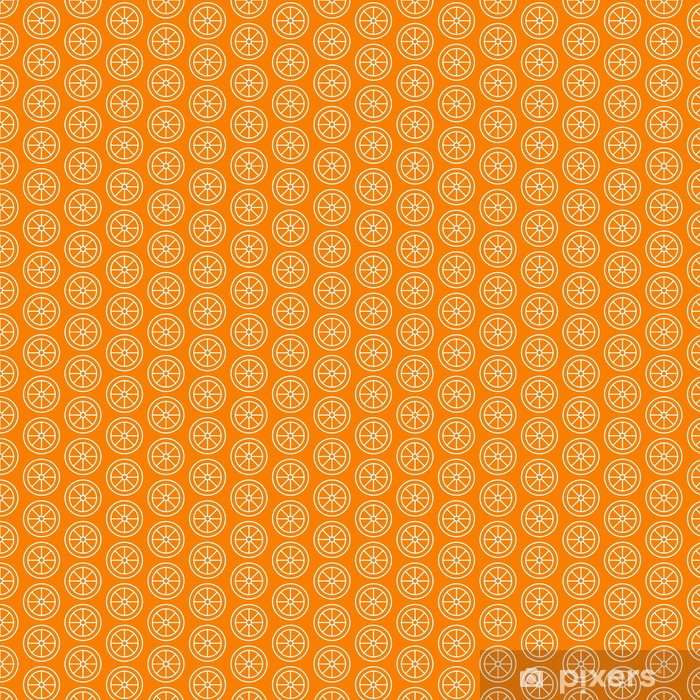 Orange slice seamless pattern, vector background. Repeated bright texture for cafe menu, fruit shop healthy food wrapping paper. Vinyl custom-made wallpaper - Drinks