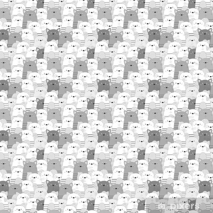 Vinyl Behang Schattig katten kleurrijke naadloze patroon achtergrond - Dieren
