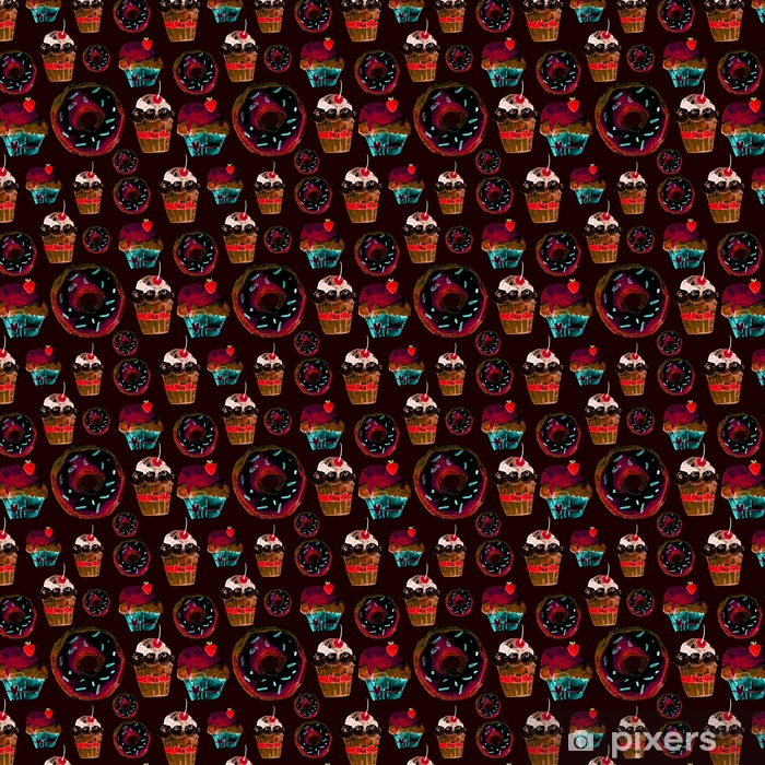 Vinylová tapeta na míru Sladké bezešvé vzorek s dorty, koblihy a zmrzlinou. chutné pozadí pro návrh menu, pozvánky, stránky kuchařské knihy. vynikající tisk pro balení papíru, tkaniny, dlaždice, tapety - Grafika