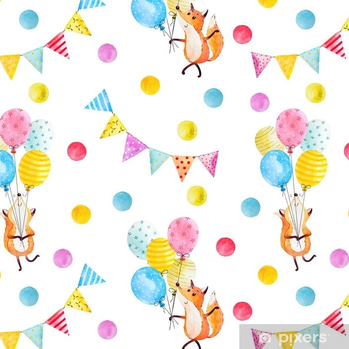 Papier Peint A Motifs Renard Avec Des Ballons Aquarelle Pixers