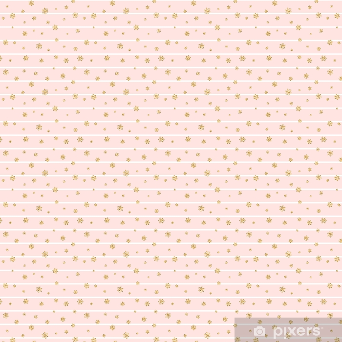Christmas gold snowflake seamless pattern. Golden glitter snowflakes on pink white lines background. Winter