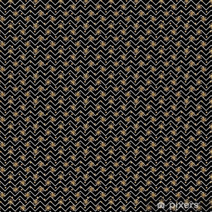 Vinyltapete nach Maß Weihnachten Gold Schneeflocke Musterdesign. golden Glitter Schneeflocken auf schwarz-weiß Zick-Zack-Hintergrund. Winter Schnee Design Tapete. Symbol Urlaub, Neujahr Feier Vektor-Illustration - Grafische Elemente