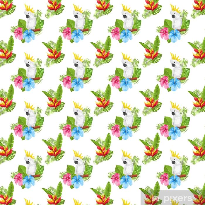 Papel pintado estándar a medida Patrones exóticos sin fisuras con cacatúa de loro y hojas y flores tropicales - Plantas y flores