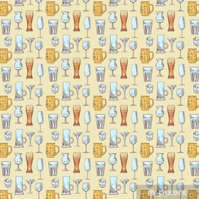 Papel pintado estándar a medida Diferentes bebidas bebida gafas de patrones sin fisuras. copas de fondo dibujado a mano. ilustración vectorial - Comida