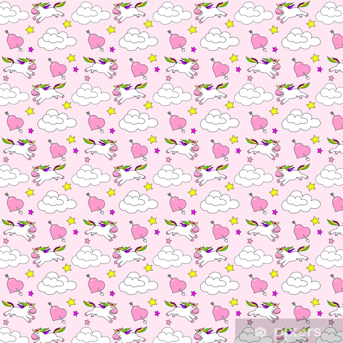 Seamless pattern of a unicorn on a pink camouflage background Vinyl custom-made wallpaper - Lifestyle