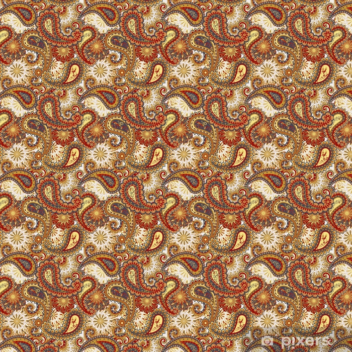 Abstract vintage pattern with decorative flowers, leaves and Paisley pattern in Oriental style. Vinyl custom-made wallpaper - Graphic Resources