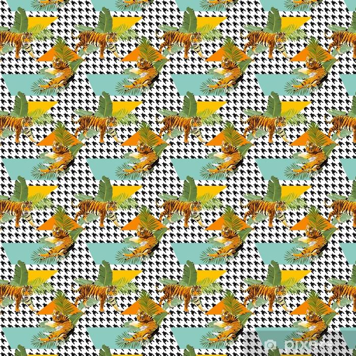 Vinyl behang, op maat gemaakt Tijgers op tropische bloemen en palmbladenachtergrond, naadloos patroon in vector - Dieren