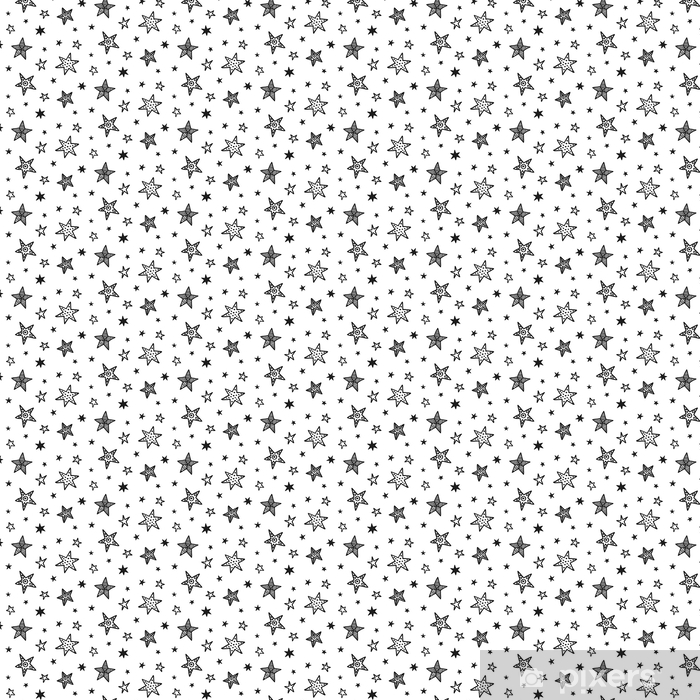 Seamless pattern with hand drawn stars. Scandinavian style Vinyl custom-made wallpaper - Graphic Resources
