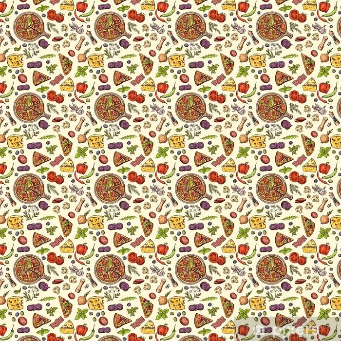 Papel pintado estándar a medida Comida italiana clásica. pizza y rebanadas con diferentes ingredientes. patrón transparente de vector - Recursos gráficos