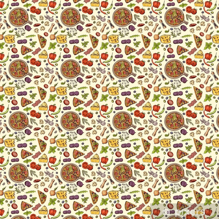 Classical italian food. Pizza and slices with different ingredients. Vector seamless pattern Vinyl custom-made wallpaper - Graphic Resources