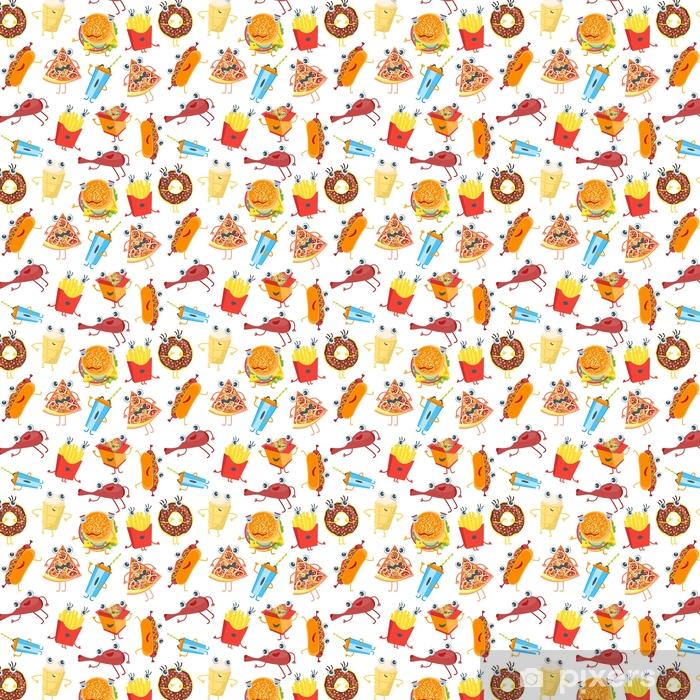 Papel pintado estándar a medida Dibujos animados color comida rápida personajes fondo patrón. vector - Comida