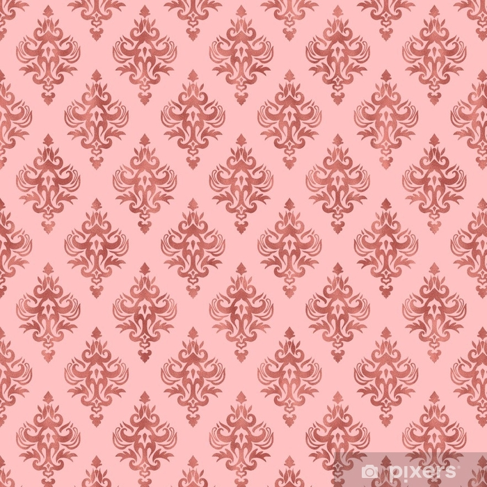 Papier Peint A Motifs Texture Feuille Rose Et Or Rose Motif