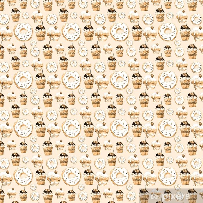 Papel pintado estándar a medida Dulce de patrones sin fisuras con tortas, donas y helados. fondo apetitoso para el diseño de menú, invitaciones, páginas de un libro de cocina. maravillosa impresión para papel de regalo, tela, azulejos, fondo de pantalla - Recursos gráficos
