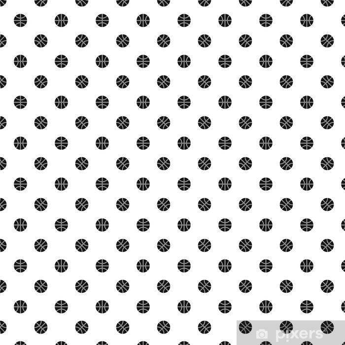 Papel pintado estándar a medida Patrón de pelota de baloncesto sin costuras negro - Recursos gráficos