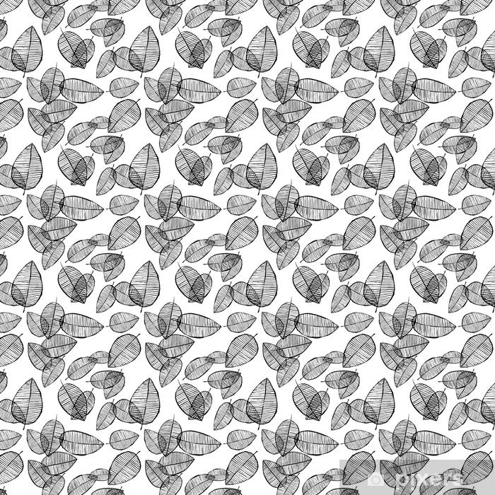 Tapeta na wymiar winylowa Wektor bez szwu zarys liści wzór. czarno-białe tło z akwarela, tusz i marker. modna skandynawska koncepcja projektowania modowego druku tekstylnego. ilustracja natury. - Zasoby graficzne