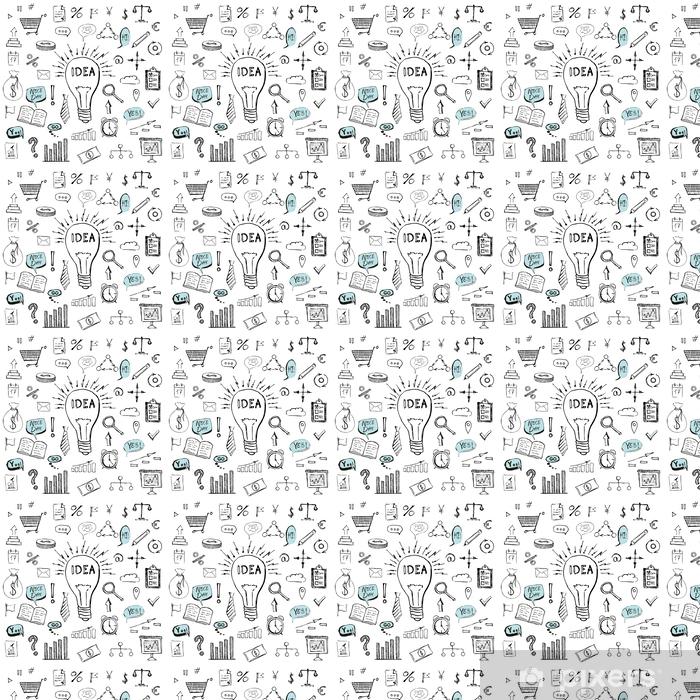 Papel pintado estándar a medida Símbolos de negocios dibujados a mano patrón de doodle - Recursos gráficos