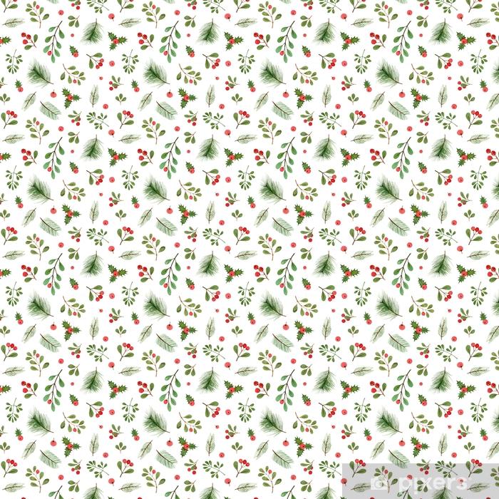 Özel Boyutlu Vinil Duvar Kağıdı Suluboya Noel bitki ve meyveleri. beyaz bir arka plan üzerinde seamless modeli. - Çiçek ve bitkiler