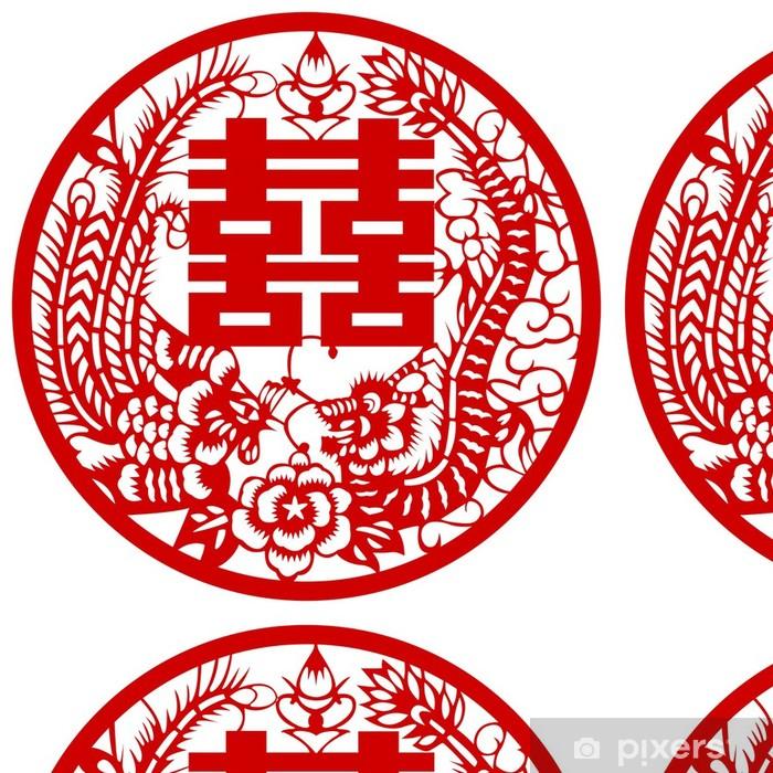 Vinylová Tapeta Fotografie čínského tradiční design draka a Phoenix. - Imaginární zvířata