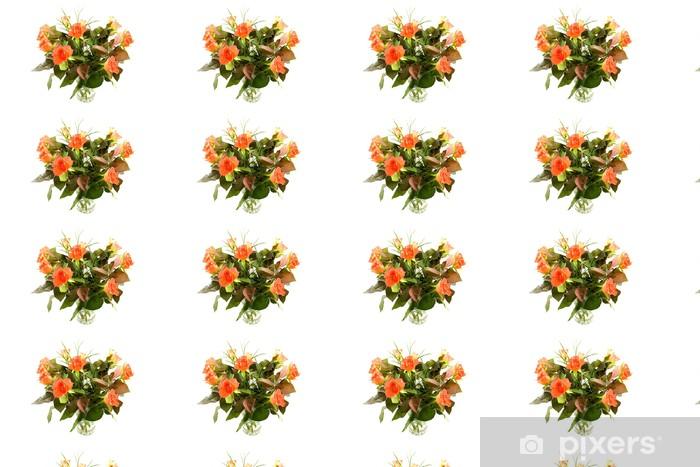 Papier peint vinyle sur mesure Bouquet de roses orange sur fond blanc - Fleurs