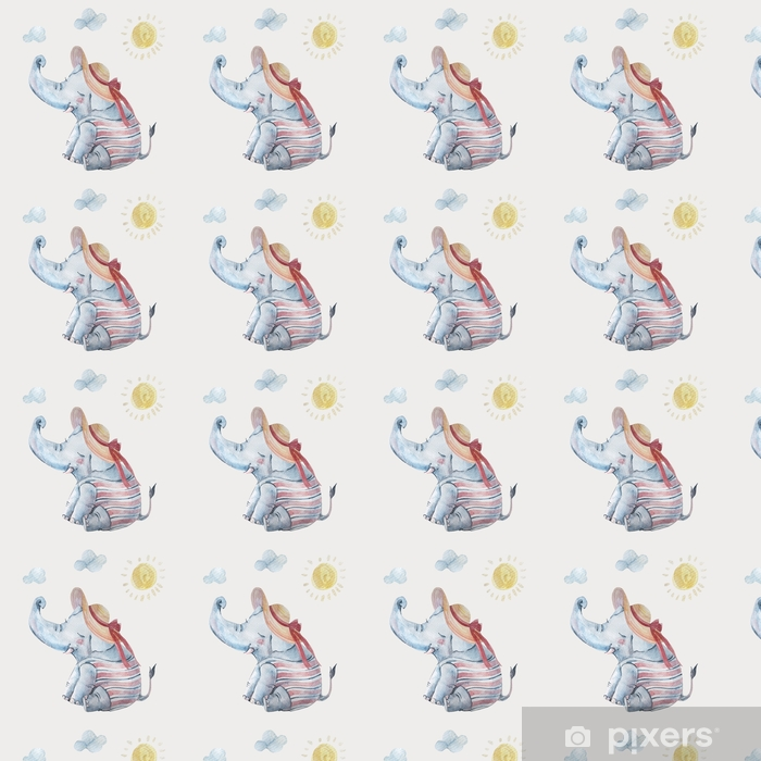Cute baby elephant in swimsuite and large brimmed hat under sun isolated on background Vinyl custom-made wallpaper - Animals
