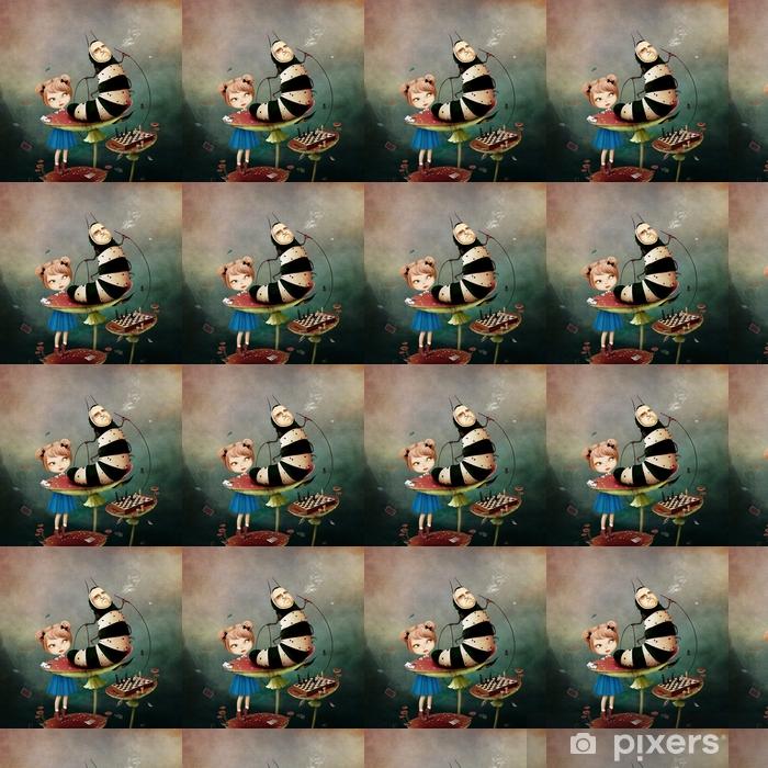 Papier peint vinyle sur mesure Illustration conceptuelle de conte de fantaisie pour les pays des merveilles avec chenille et une fille sur les champignons. - Passe-temps et loisirs