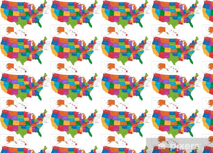 Usa Staaten Karte Mit Hauptstädten.Tapete Bunte Karte Der Usa Mit Den Staaten Und Hauptstädte Nach Maß