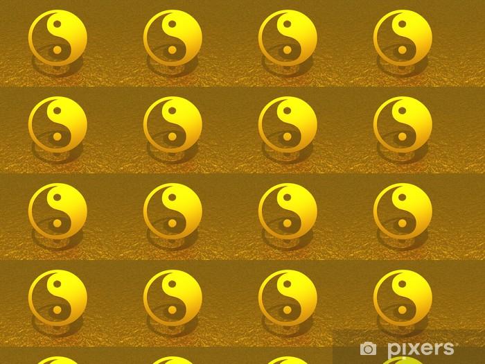 Vinyltapete nach Maß Ying Yang Gold schwebend - Religion