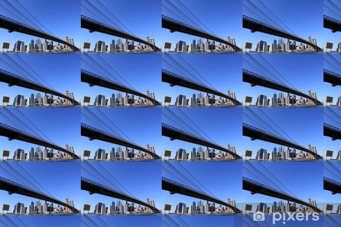 Vinylová tapeta na míru Brooklyn Bridge a Manhattan skyline na jasně modré den - Americká města