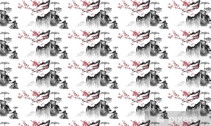 Carta Da Parati A Motivi Pittura Tradizionale Giapponese Sumi E
