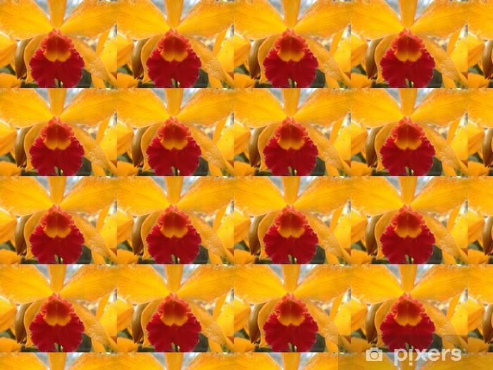 Papier peint vinyle sur mesure Orchidée rouge et jaune - Fleurs