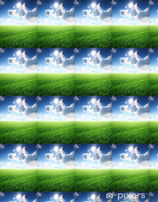 Spesialtilpasset vinyltapet Vakkert sommerlandskap med sollys og grønn plen - Sesonger