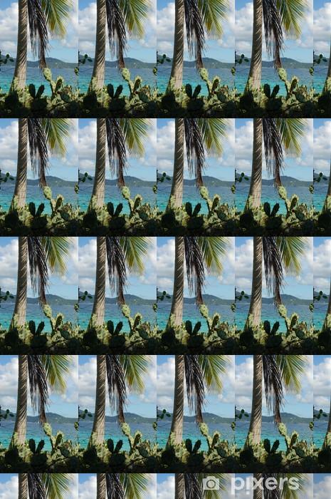 Papier peint vinyle sur mesure Cactus et palmiers sur l'île déserte - Vacances