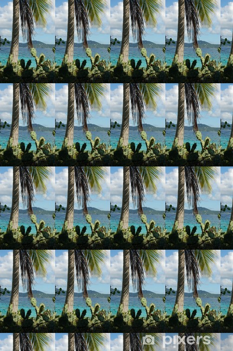 cacti and palm tree on deserted island Vinyl custom-made wallpaper - Holidays