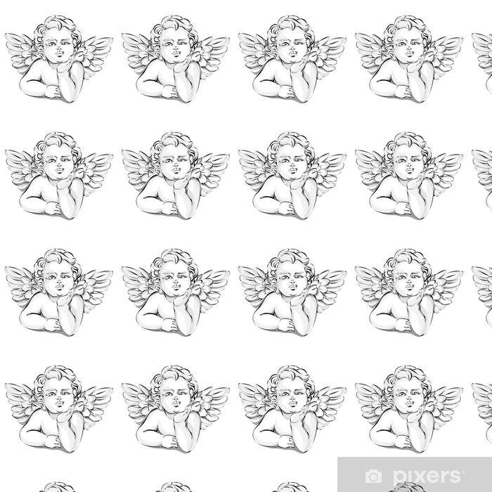 Papier peint vinyle sur mesure Décor de mariage d'ange, illustration vectorielle Saint-Valentin Cupidon, noir et blanc - Personnes