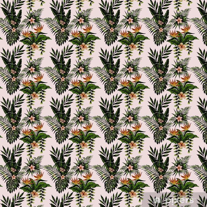 Zelfklevend behang, op maat gemaakt Exotische compositie bloemen en planten - Bloemen en Planten