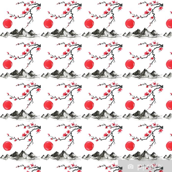 Tapeta na wymiar winylowa Góry w japońskim stylu malarstwa. tradycyjne piękne akwarela ręcznie rysowane ilustracji - Zasoby graficzne