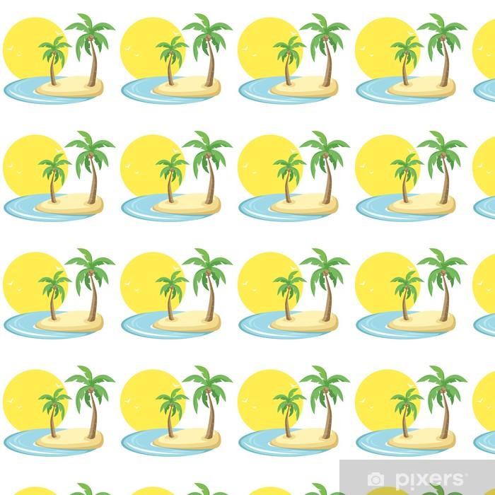 Papier peint vinyle sur mesure Île tropicale avec des oiseaux, le soleil et les palmiers dans le vecteur - Arbres et feuilles