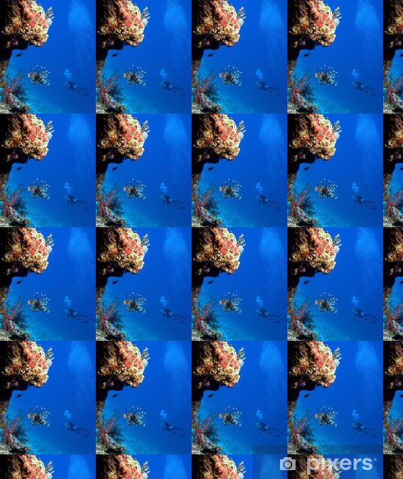 Tapeta na wymiar winylowa Lionfish i kobieta nurków w pobliżu rafy koralowej - Zwierzęta żyjące pod wodą